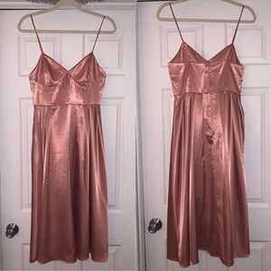 H&M Pink Satin Bustier Midi Dress, Size 8
